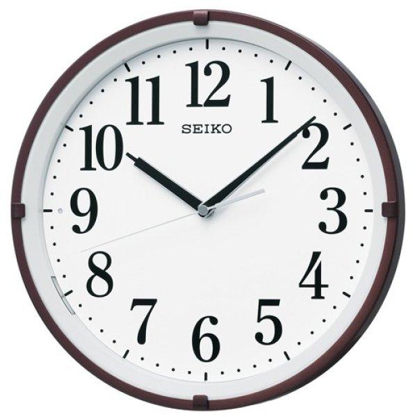 画像1: SEIKO 電波掛け時計 丸型 インテリアクロック(暗くなると自動点灯)  (1)