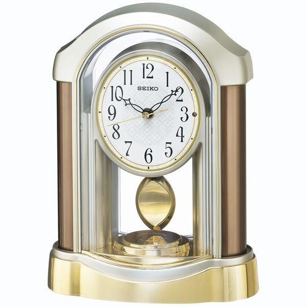 画像1: セイコー SEIKO 電波時計 テーブルクロック 置時計 綺麗な時計 回転飾り付時計   (1)