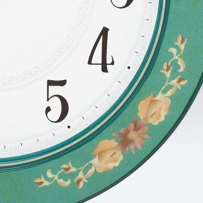 画像1: SEIKO 電波掛け時計 丸型 花柄模様つき インテリアクロック #送料無料