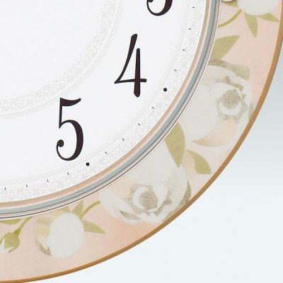 画像2: SEIKO 電波掛け時計 丸型 花柄模様つき インテリアクロック #送料無料