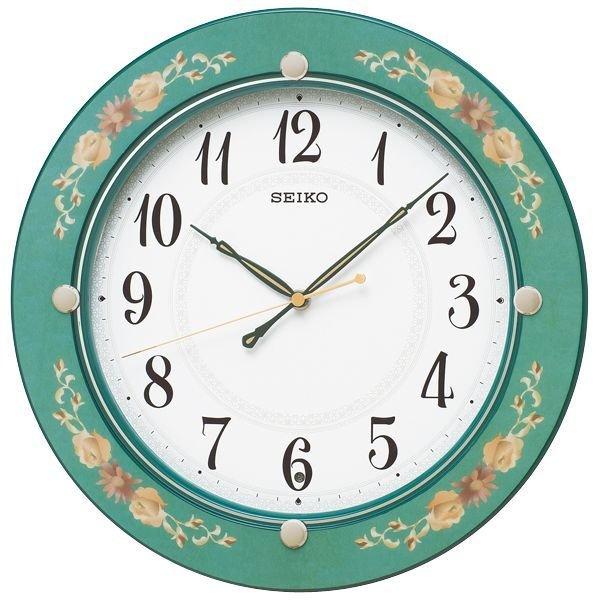 画像1: SEIKO 電波掛け時計 丸型 花柄模様つき インテリアクロック #送料無料 (1)
