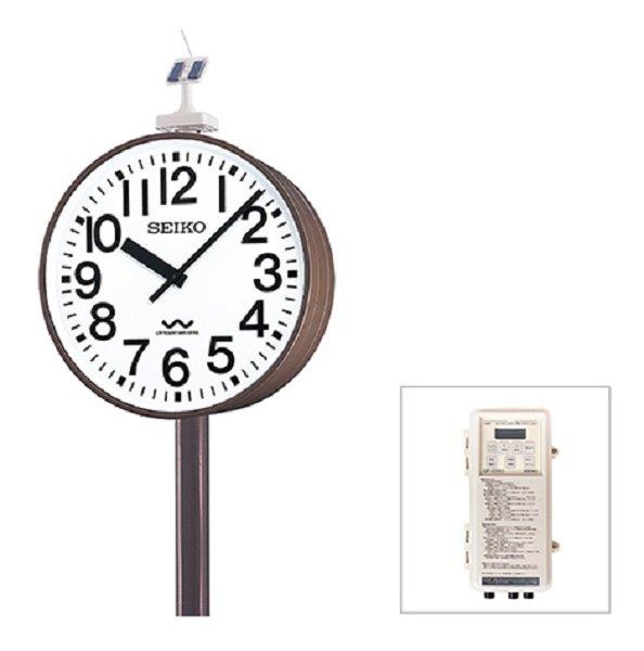 画像1: 屋外時計 SEIKO 防水 大型 ポール時計 ソーラー 電波時計 両面時計付 (1)