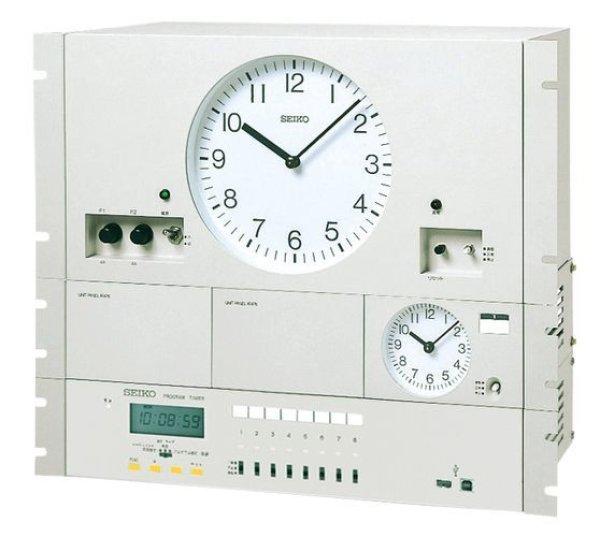 画像1: 設備時計 セイコー 年間プログラムタイマー付 水晶親時計 子時計約30台 パネル型 (1)