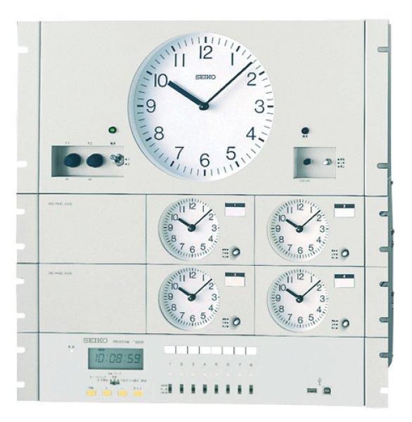 画像1: 設備時計 セイコー 年間プログラムタイマー付 水晶親時計 子時計約120台 パネル型 (1)