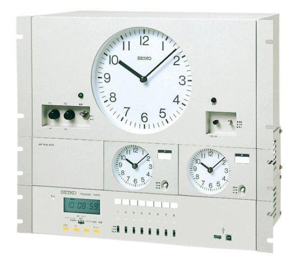 画像1: 設備時計 セイコー 年間プログラムタイマー付 水晶親時計 子時計約60台 パネル型 (1)