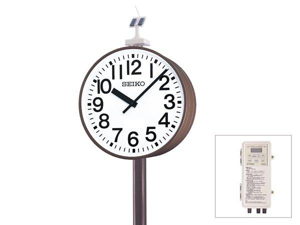 画像1: 屋外設備時計 ポール 大型 ソーラーGNSS電波式 両面時計付 QFC-783GS (1)
