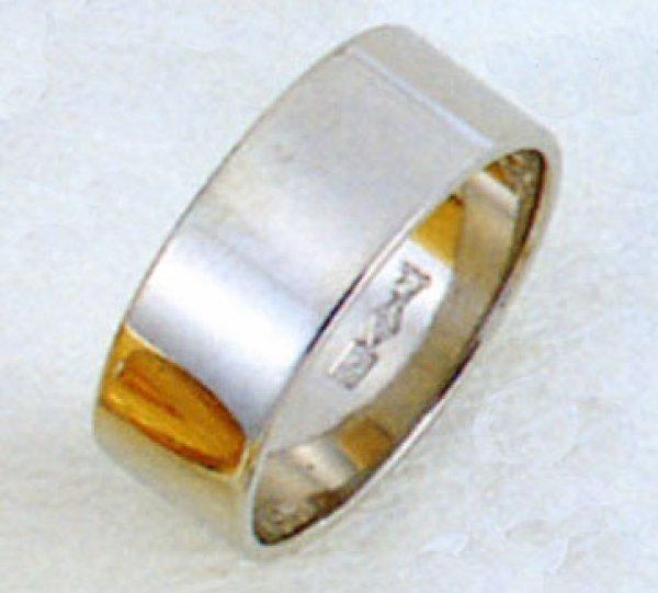 画像1: 【PT900】プラチナリング  結婚指輪 平打形 無地リング 幅 7mm 約 8.5g  (1)