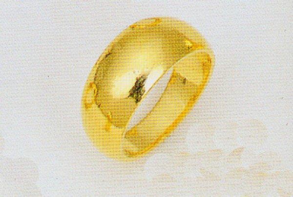 画像1: 純金指輪 K24リング ファッションリング エンゲージリング 黄金色 月形甲丸 無地リング  (1)