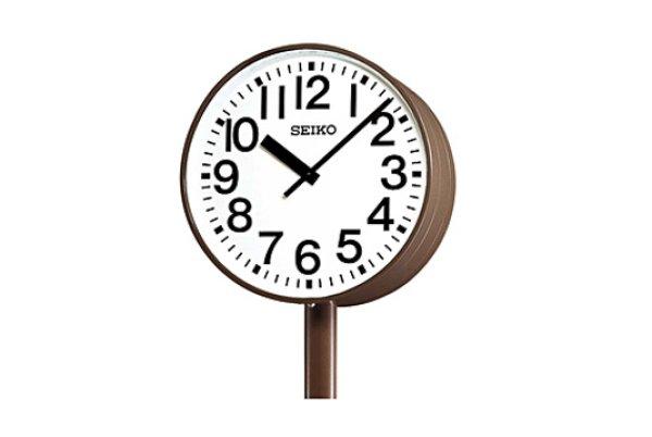 画像1: 設備時計.防水.大型.電波.ポール時計.屋外.交流式.内部照明付.両面時計 (1)