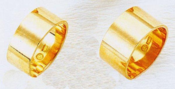 画像1: 【K18YG】平打無地リング ファッションリング (10.0mm幅)金の指輪 送料無料 (1)
